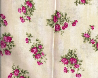 New Beige with Pink Flowers 100% cotton fabric by the yard and half yard