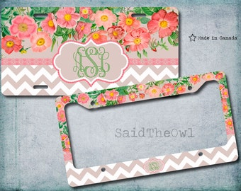 Pink Roses, Chevron Pattern, Pastel Colours, Vanity Car Tag, Bike License Plate, License Plate Frame - monogrammed license plate, Pretty, 78