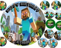 MINECRAFT 7.5inch Round & 12 Cup Cake Toppers Rice Wafer Paper (Personalised)