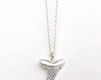 Solid Sterling Silver Pave Shark Tooth Necklace, Sterling Silver Charm, CZ Pave Pendant, Small Shark Tooth