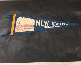 New Castle Delaware Felt Pennant Vintage Blue Day-Glo Fluorescent Paint