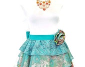 Womens Flower Garden and Paisley Apron, Teal Organza Ruffle Apron with Handmade Flower Accent, 100% Proceeds to Womens Charity in Mexico