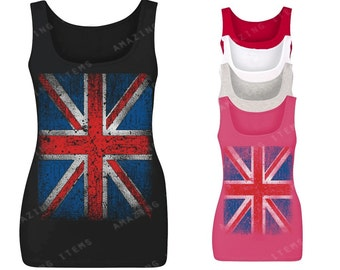 Vintage British Flag Women's Tank Top Union Jack Tank Tops