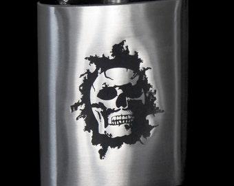 Metal Flask - 'Burning Skull'