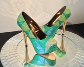 Tinkerbell Inspired High Heel Glitter Shoes for Women