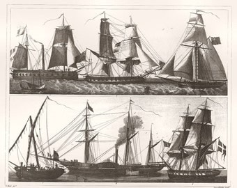 European Sailing Ships copy of vintage engraving from 1850s encyclopedia by J G Heck engraved by Henry Winkles