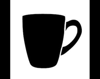Tall Coffee Cup Art Stencil - Select Size- SKU:STCL834