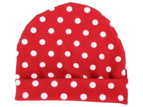 Red Polka Dot Baby Beanie Hat Red Polka Dot Baby Leggings Baby Newborn Beanie Toddler Beanie Slouch Beanie Baby Gift Red White Polka Dot