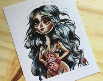 Inside Me Big Eyed Art Girl Art Vinyl Sticker Pop Surrealism Lowbrow Guts Anatomy Macabre