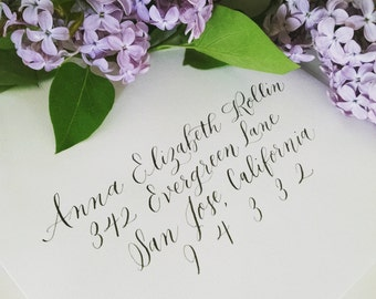 Gardenia Style; Wedding Envelope Calligraphy; Hand Addressed