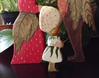 Strawberry Child. Elsa Beskow. Wooden figurine.