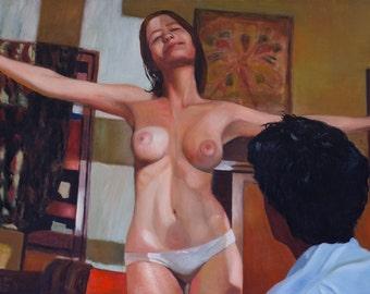 "Original Art, Original Oil Painting, Large Art, Large Wall Art, Nude, Woman, Movie Art, The Dreamers, Oil on Canvas 120X80 CM (47.2""X31.5"")"