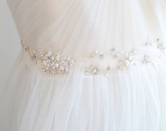 Crystal Beaded Bridal Sash, Dainty Silver Wedding Belt