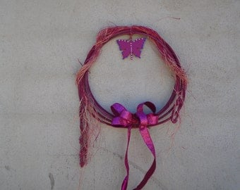 Western Rope with butterfly Rustic raffia, bling,and ribbon rodeo rope decore