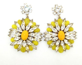 Yellow Earrings Glass and Crystal Statement Chandelier Pierced