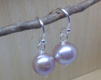 Lilac Kasumi Pearl Earrings June birthstone, pearl earrings, baroque pearl, sterling silver earrings, freshwater pearls