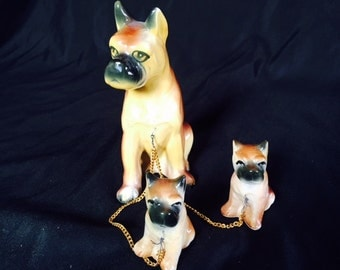 Vintage ceramic bulldog set