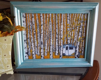 Wall Art - Autumn glamping in the birch trees - Mixed Media Art Print - Serro Scotty vintge travel trailer