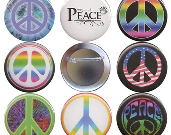 Peace Sign Set of 8 Pinback Buttons, Magnets or Flatbacks, Pins Badges