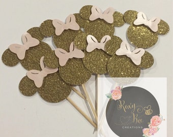 Pink and gold minnie mouse Cupcake picks