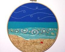 "Ocean Scene Embroidery Hoop Art - 9"" hand stitched hoop - beach scenery, landscape, seascape, fabric art, sea, waves, summer, nature, gift"