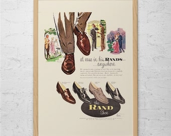 VINTAGE RANDS SHOES Ad - Classic Mens Shoes Ad-  Mid-Century Mens Fashion Poster Don Draper Style Mad Men Ad Poster Retro Leather Shoes Ad