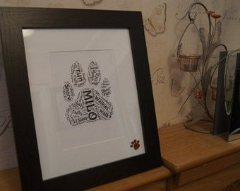 Unusual gift for any animal lover your dogs paw print