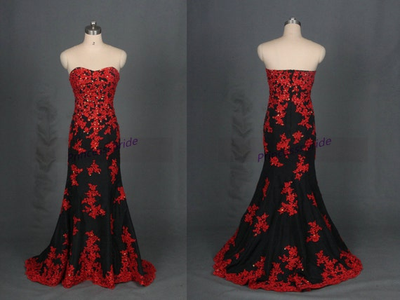 2016 black taffeta wedding dresses with red applique lace for Red and black wedding dresses for sale