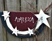 Primitive Watermelon Slice Flag - Americana - Folk Art - Solid Wood - Wall Hanging - OFG, FAAP, HAFAIR, TeamHaHa