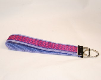 Key Fob - Pink and Purple Chevron on Purple