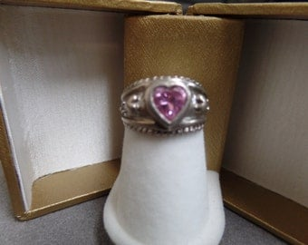 Sterling Silver and pink quartz Heart Ring size 5 1/2