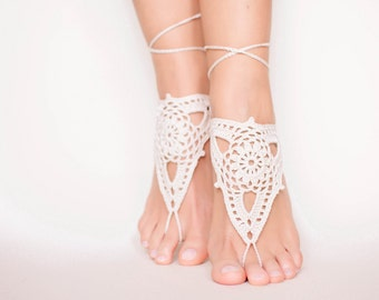 Crochet barefoot sandals/Wedding barefoot sandals/Bridal shoes/Bohemian wedding/Boho accessories/Bare foot sandals/Wedding sand ceremony