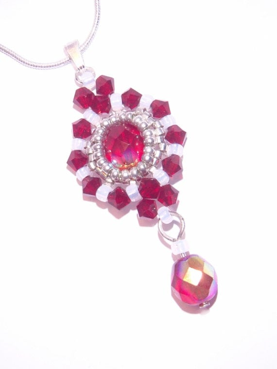 Beaded Pendant Beadwork Pendant Red And White Pendant With