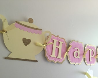 Tea party birthday banner, teapot banner, tea party decoration!!