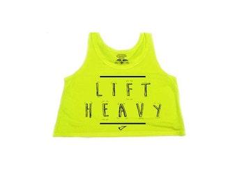 Lift Heavy Flowy Crop top neon