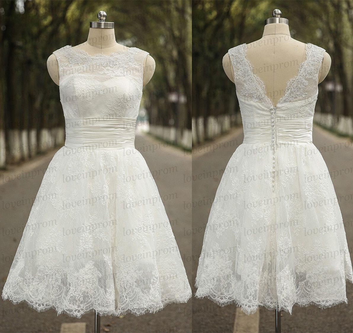 White Iovry Lace Wedding DressShort Beach Wedding DressHigh