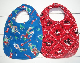 Cowboy Western Baby Bibs Set Of Two Ready To Ship