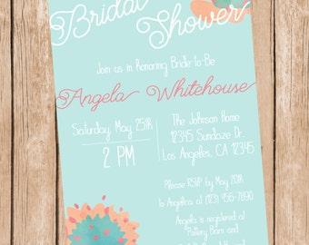 Bridal Shower Invitation Teal or Pink