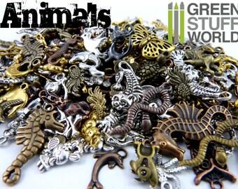 Set 85gr. - ANIMAL beads Mix - 50-60 units - sizes 0.5-1.5cm - Animals Zoo Steampunk set