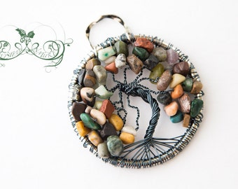 Tree of Life pendant with Grey wire and multi gemstone chips