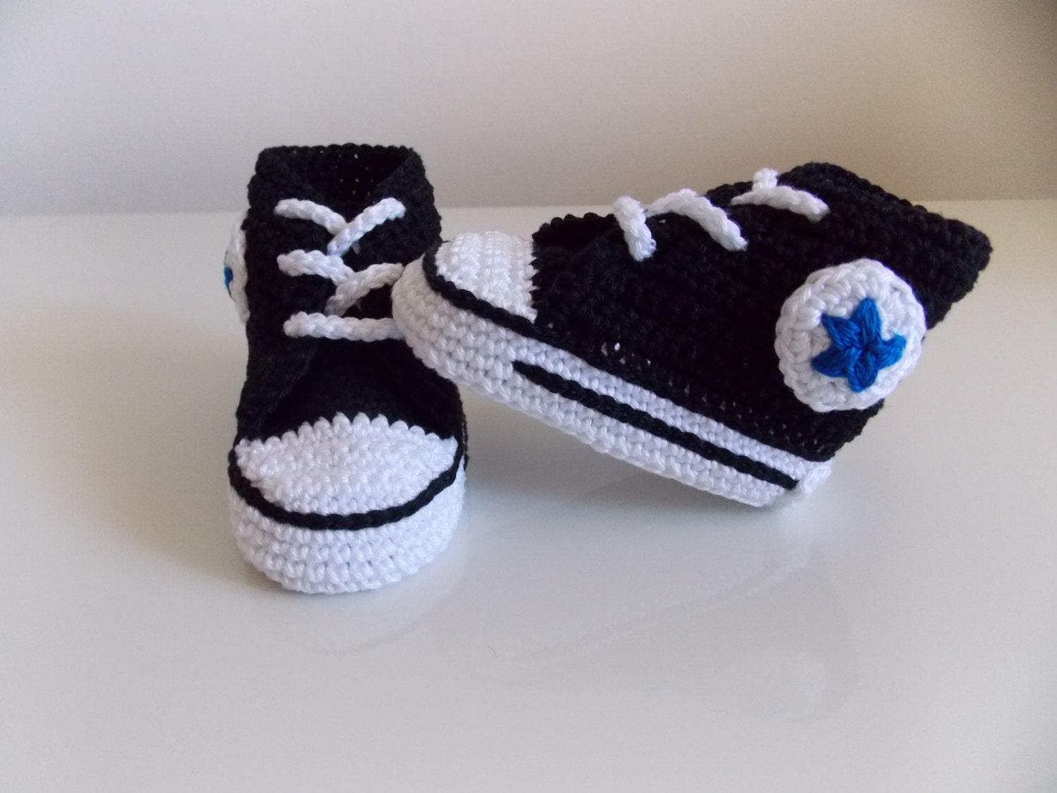 Crochet Baby Booties High Top Converse Style Pattern : Baby crochet converse newborn sneakers booties by ...