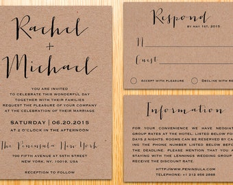 Digital Printable Kraft Paper Wedding Invitation Suite Classic Simple Modern Minimalist Wedding Set Custom Made DIY Wedding Invite Set WI015