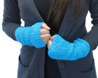 Turquoise Blue Knitted Wrist Warmers / Fingerless Mittens