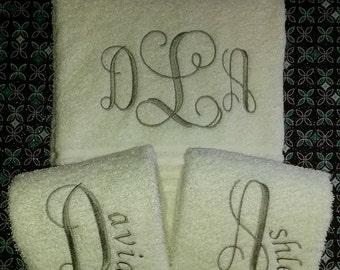 Monogrammed BATH Towel Set of 2