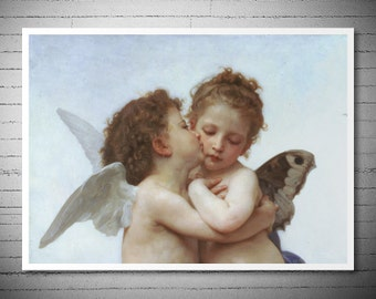 The First Kiss (detail) by William Adolph Bouguereau- Poster Print, Sticker or Canvas Print