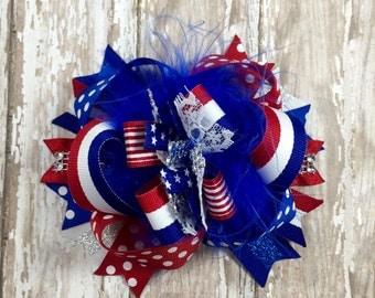 4th of July, Hair Bow, Headband, Newborn, Baby Girl, Patriotic