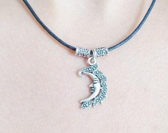 black cord necklace silver moon necklace handmade necklace fashion jewellery black cord moon necklace fashion necklace silver moon charm