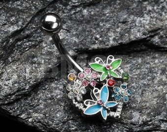 Butterfly Heart Garden Belly Button Ring