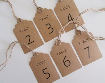 Table Number Hanging Tags | Wedding Table Numbers | Bridal Shower Table Numbers | Centerpiece Decor | Pre-Cut Twine Included | PREORDER