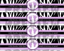 B3G1 FREE - Water Bottle Label DIY - Printables Baby Shower Girl Zebra Feet Purple - Instant Download